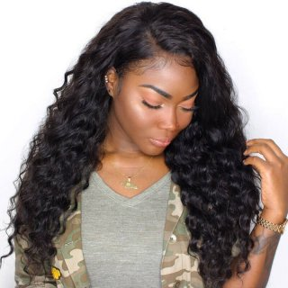 Loose Wave Full Lace Wigs Natural Color Brazilian Human Hair Lace Wigs For Women With Baby Hair