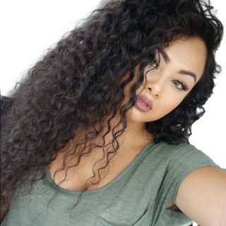 Deep Curly Brazilian Full Lace Wig With Baby Hair Brazilian Human Hair Natural Color