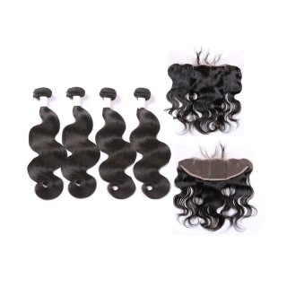 4 Bundles With Frontal Brazilian Human Virgin Hair Straight Human Hair with Lace Frontal Natural Color