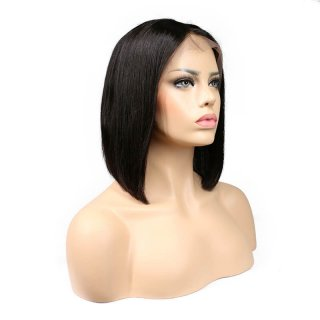 Straight Bob Wigs 150% Density For Black Women Brazilian Virgin Human Hair Middle Part
