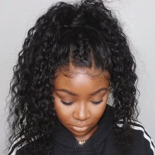 Water Wave Human Hair Wigs With Baby Hair Natural Color