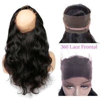 360 Lace Frontal Straight Body Wave Natural Color Human Hair