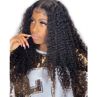 Kinky Curly Wig Natural Color Human Hair 100% Virgin Hair For Black Women With Baby Hair
