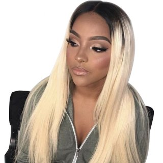 1B/613 Color Full Lace Wig Straight/ Body Wave Human Hair 150% Density