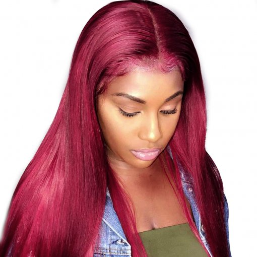 Burgundy Color 99J Straight Full Human Hair Wigs for Black Women