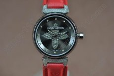 ルイヴィトンLouis Vuitton Tambour Ladies Diamonds SS Black Dialクオーツ
