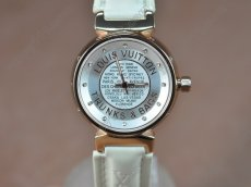 ルイヴィトンLouis Vuitton Tambour Ladies Diamonds RG/LE White Dialクオーツ