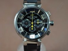 ルイヴィトンLouis Vuitton Tambour 227 Chrono SS/RU Blk A-7750自動巻き