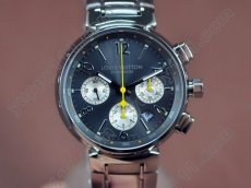 ルイヴィトンLouis Vuitton Tambour Chronograph SS Black Asia 7750自動巻き
