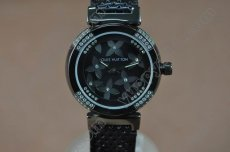 ルイヴィトンLouis Vuitton Tambour Ladies Diamonds Black PVD/Black Dialクオーツ
