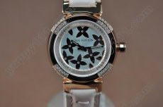 ルイヴィトンLouis Vuitton Tambour Ladies Diamonds RG White Dialクオーツ