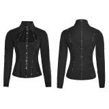 Punk Metal Pu Leather Women's Shirt