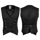 Gentleman Punk Stripe Chinese Style Buckle Men's Vest