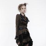 Punk women's coffee  woven fabric jacket