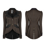 Punk women's coffee  woven fabric jacket