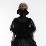 Gothic bat women's black short cloak