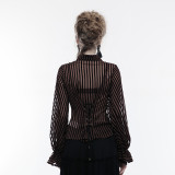 Steam punk transparent striped women's shirt