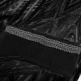 Punk Pattern Men's Long  Vest Black/Coffee