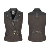 Steam punk  Quiff men's Vest Black/Coffee