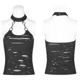 Punk Broken Hole Chain Knit Women's Vest