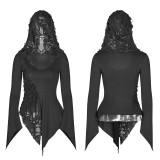 Gothic Dark Hooded asymmetric Long sleeve t-shirt