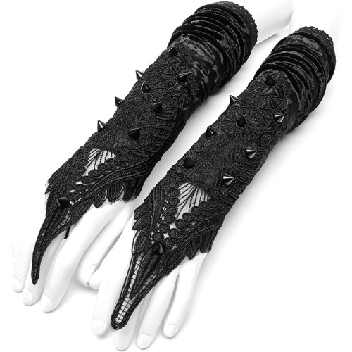 Gothic Sharp Rivets Medium Long Gloves
