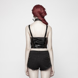 Punk Strap Short Metal zipper Women's Vest