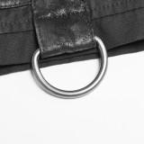 Steampunk Short Sleeve metal buckle Men's Shirt