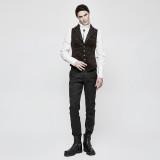 Punk Vintage Jacquard Men's Vest/Waistcoat Black&Coffee