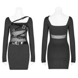 Punk PU Leather Loop Slimming Dress