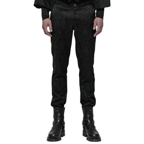 Gothic High Waist Jacquard Men's Trousers Black