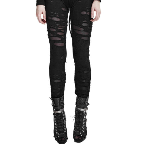 Gothic Broken Mesh Women's Leggings Black/Red