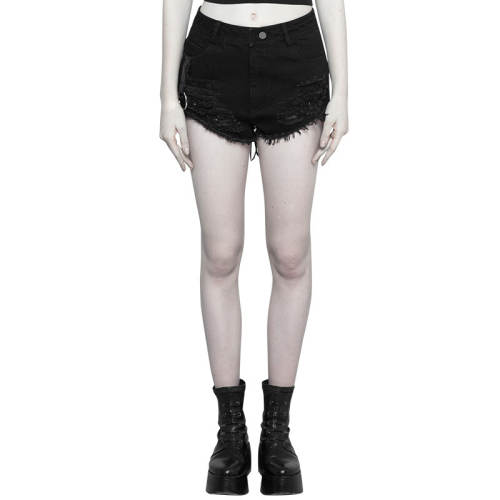 Punk Metal Peach Heart Bandage Shorts women's