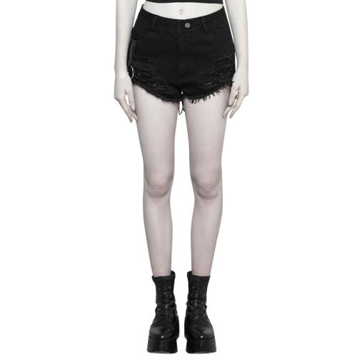 Punk Metal Peach Heart Bandage Shorts women's