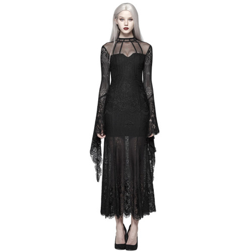 Gothic Daily Wear Women's Lace Dress Black