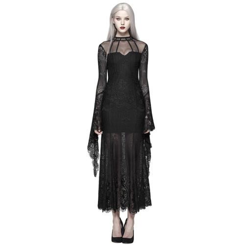 Gothic Daily Wear Women's Lace Dress Black