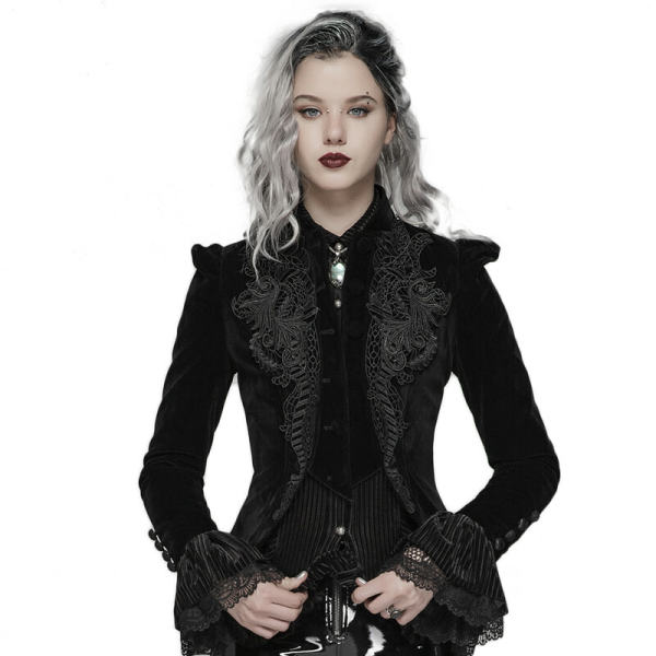 Gothic Weft Velvet Short Women's Coat
