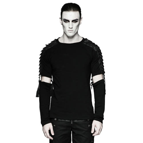 Punk Minimalist Diablo  Warrior   Detachable Long Sleeve T-shirt