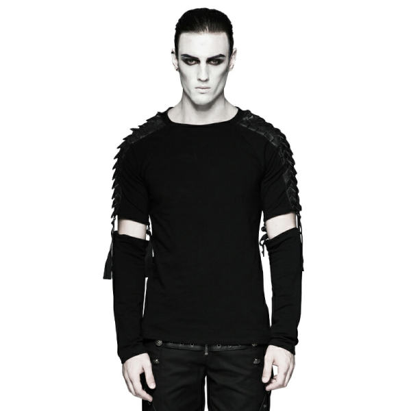 Punk Minimalist Diablo  Warrior   Detachable Long Sleeve T-shirt