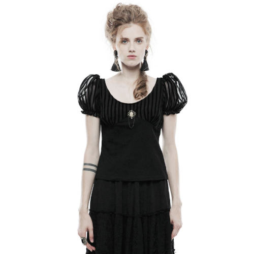 Punk Brooch Short Sleeve Women's T-shirt Black/Coffee