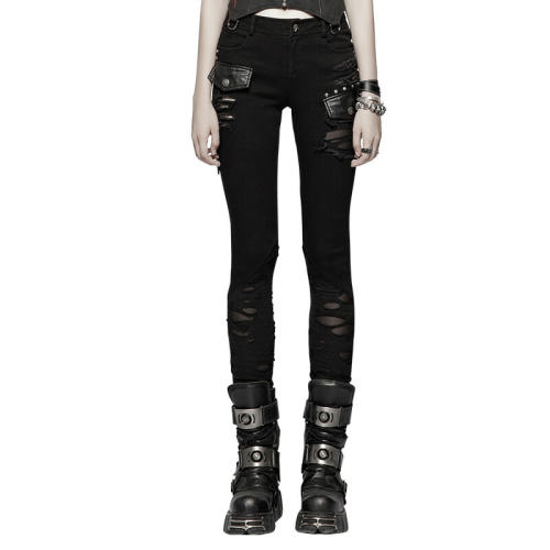Punk Stitching Women's stretch-knit mesh Trousers