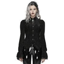 Gothic Dark-Grain Velvet Shirt
