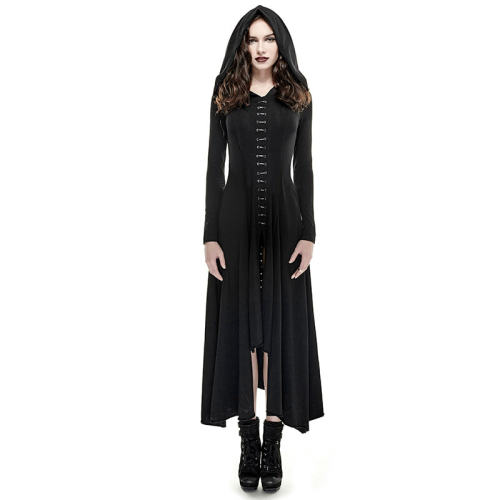 Gothic cotton Knit Long women's Dress Black