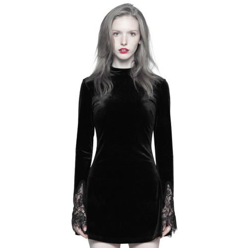 Punk Dark lace Stitching A Pendulum Women's Dress