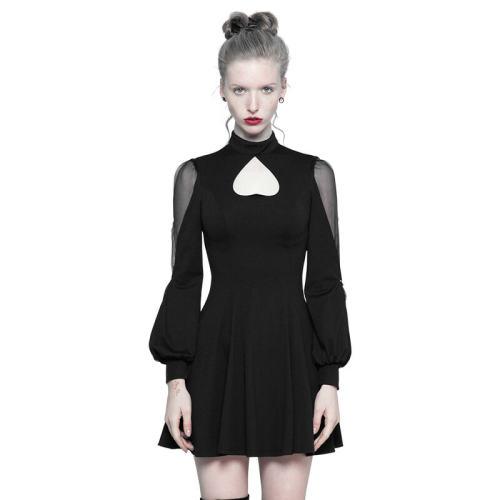 Gothic High Collar Inverted Peach Heart Mosaic Women's Dress