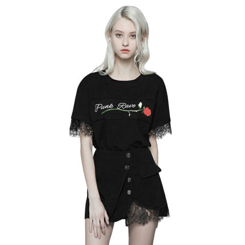 Punk Handsome A Line Lace Women's Black Skirt