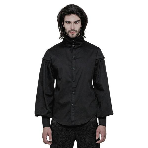 Gothic  High collar Long Sleeve Shirt for men