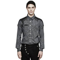 Steam Punk Striped Men's Blouse Black/Coffee