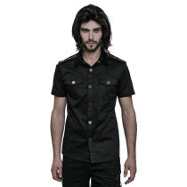Simple Punk Short Sleeve Men's Shirt Black