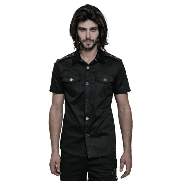 Simple Punk Short Sleeve Men's Shirt Black